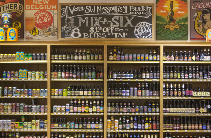 Brown Derby boasts what may be Missouri's largest selection of beer, prioritizing local and craft products. In addition to bottled and canned offerings, which are available in six-packs and singles, the flagship store's Derby Deli offers guests a choice of eight beers on tap.
