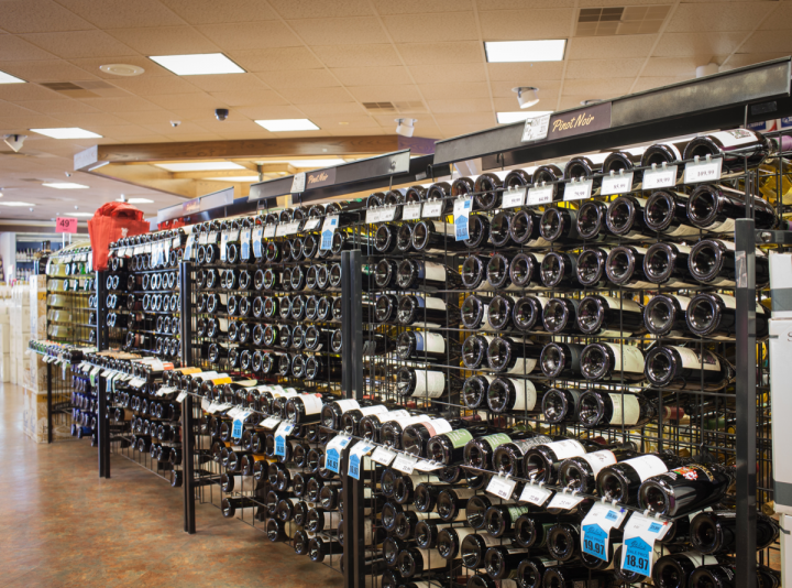 Pinkie's emphasizes employee knowledge and large product selections (wine pictured).