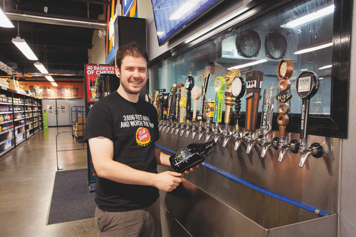 The stores offer draft beers and growler fills, and the lineup changes often. Each unit rotates through over 500 draft selections a year.