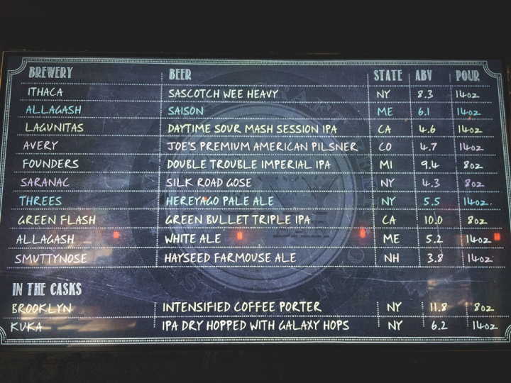 At New York City's two-unit Pony Bar, an electronic menu board displays each beer available on tap and includes such information as style, state of origin and alcohol-by-volume.
