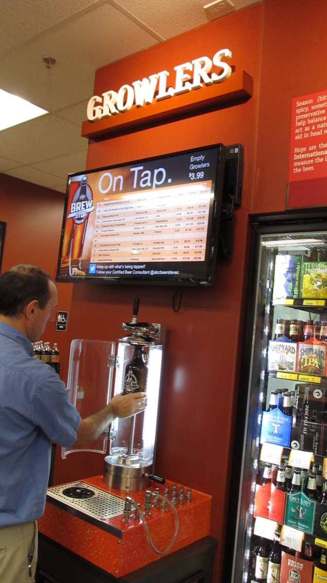 Florida's ABC Fine Wine & Spirits created a proprietary growler station called the Brew Stop.