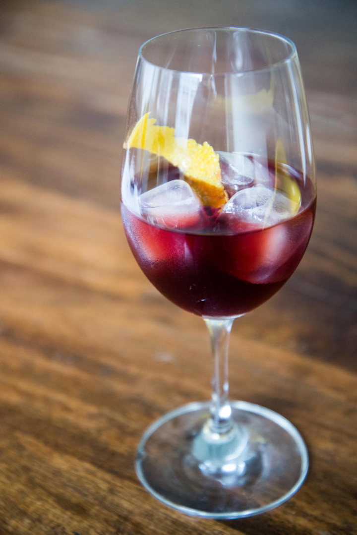 The Red and Black incorporates rye whiskey along with red wine and crème de cassis.