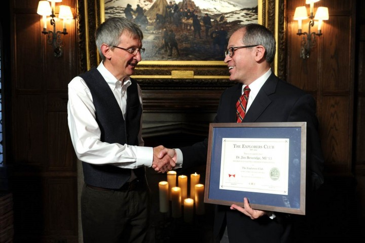 "Johnnie Walker master blender Jim Beveridge (left) was welcomed into The Explorers Club by executive director Will Roseman (right) on September 30<sup>th</sup> at the organization's headquarters in New York City. The Club hosted the launch of Johnnie Walker's ""Joy Will Take You Further"" campaign."