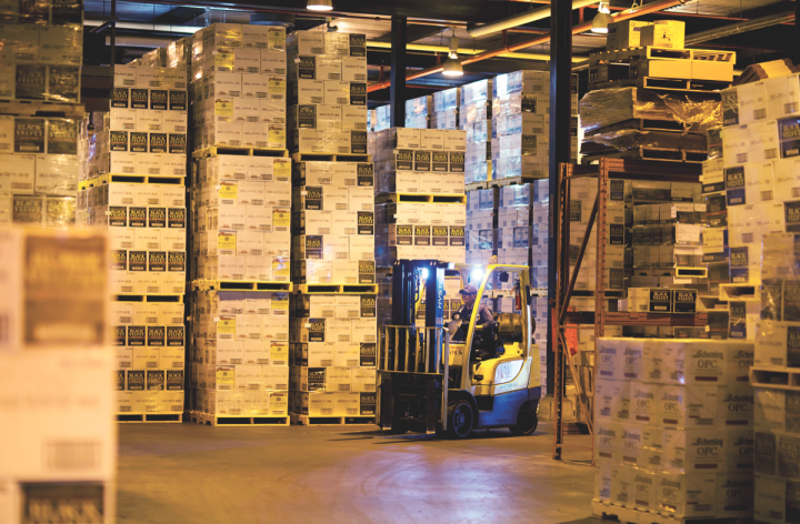 Pallets of Constellation Brands' Black Velvet Canadian whisky await transport in a plant in Lethbridge, Alberta. Black Velvet is the No.-2 Canadian whisky brand, with volume at 2 million cases.