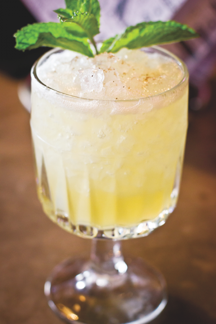 The Bohemian Revolt combines spiced Swedish wine liqueur with Sherry, pear brandy, lemon juice and honey syrup.