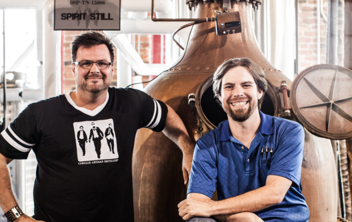 Darek Bell (left) and Andrew Webber (right) founded Corsair Distillery in 2008 after years of brewing beer together. The company makes spirits from unusual ingredients.