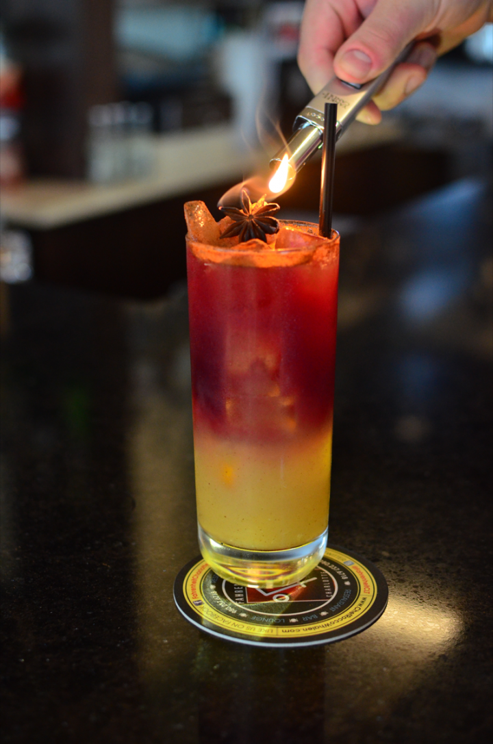 Fahrenheit's Lucille cocktail is made with mezcal, Port, citrus juices, brown sugar and vanilla cinnamon syrup, and bitters.