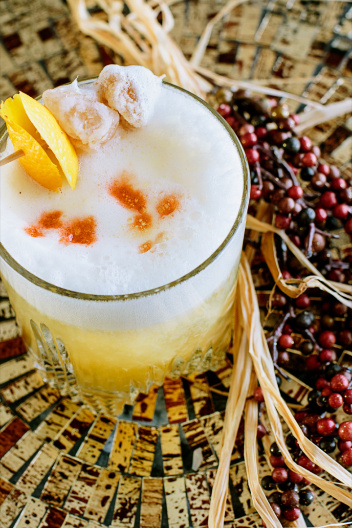 Scotch sours have emerged as an accessible entry point into whisky-based cocktails. The Usquaebach Ginger Sour is made with Usquaebach Reserve, ginger syrup, fresh lemon and lime juices, bitters, and egg white.