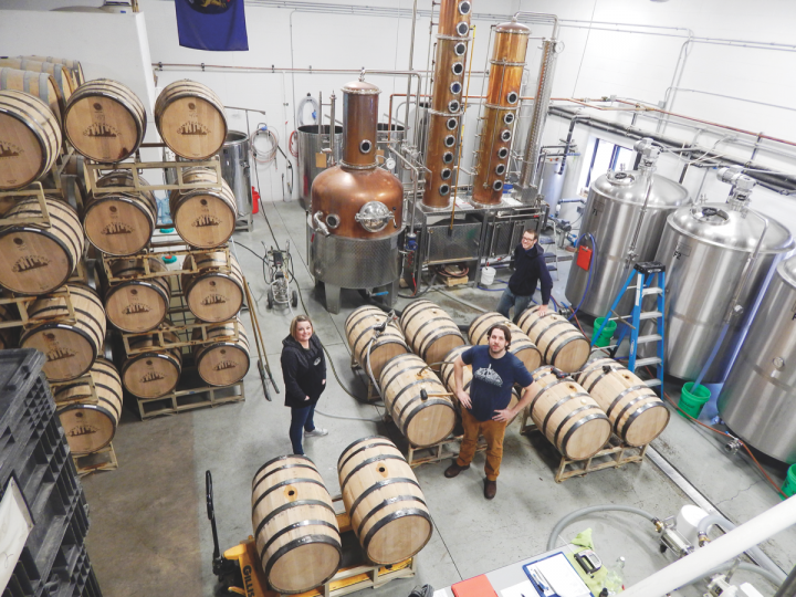 Northern Michigan's Grand Traverse Distillery (staff pictured) sources nearly all its ingredients from local farms.