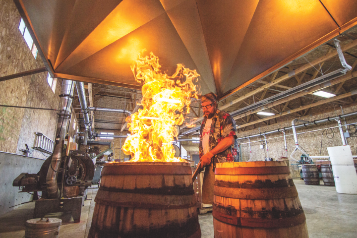 Newport, Oregon's Rogue Spirits (cooper Nate Lindquist pictured) takes an innovative approach to both its products and its processes. The distillery has its own in-house cooperage.