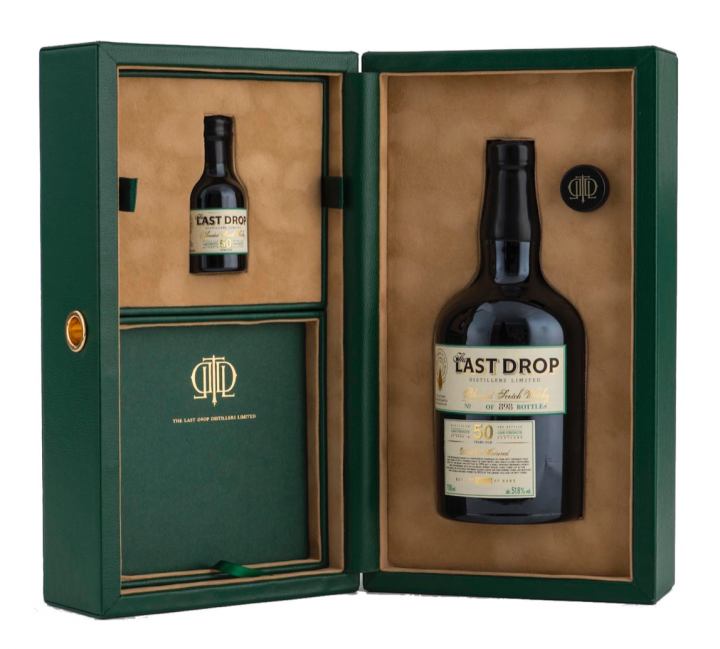 Like all Last Drop packages, the recently released 50-year-old Double Matured blended Scotch whisky includes a 50-ml. miniature bottle.