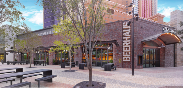 MGM Resorts International opened The Park on the Las Vegas Strip earlier this month. The Park houses national restaurant chains, single-unit concepts like Beerhaus (pictured), and the T-Mobile concert and sports arena.