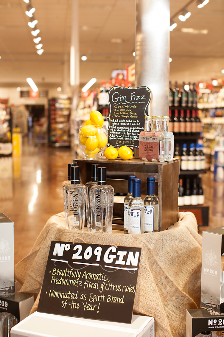 Craft spirits like San Francisco's No. 209 gin sell well in cocktail-focused displays.