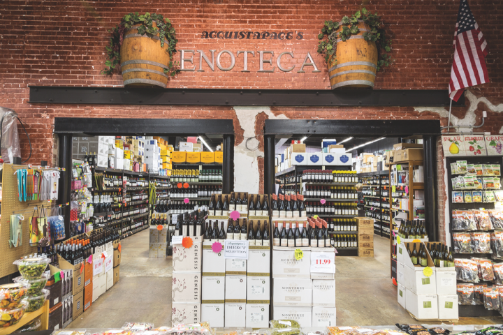 Acquistapace's Covington Supermarket in Covington, Louisiana, opened in 1963 and began selling beverage alcohol in 1999. California Cabernet Sauvignon and imported offerings lead wine sales (wine section pictured).