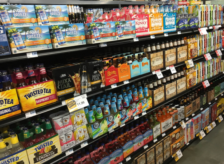 The RTD category (shelves at Hy-Vee pictured) has seen high turnover among its top performers as the hard soda segment has skyrocketed. Meanwhile, much of the cider category has slowed.