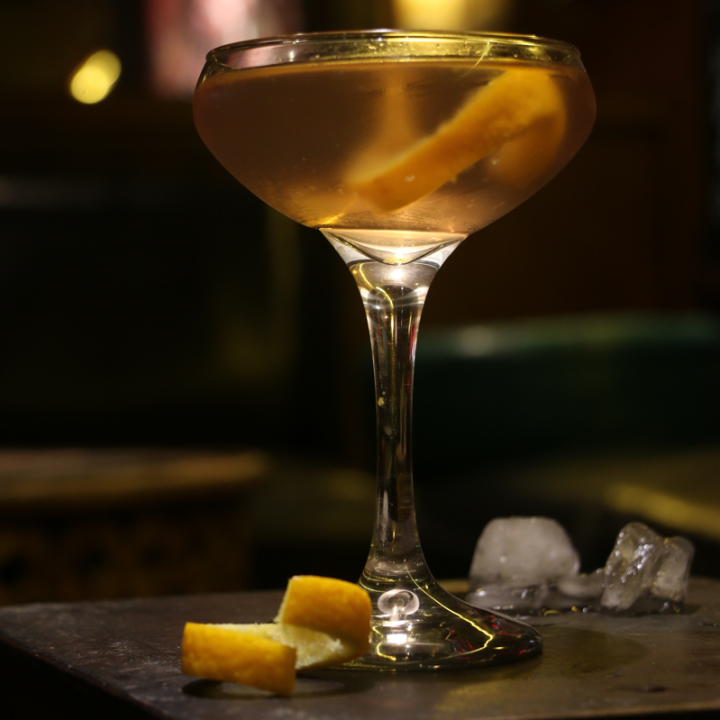 The Knickerbocker features Bombay Sapphire gin, Noilly Prat Dry vermouth, Fee Brothers Orange bitters and Angostura bitters.
