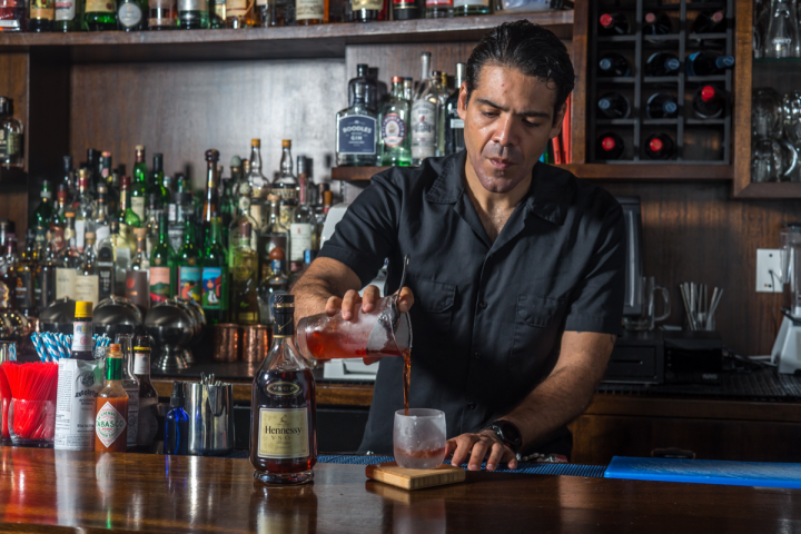 Giuseppe González is offering the Golden Sazerac, made with Hennessy V.S.O.P. Privilège, Pernod absinthe, Peychaud's bitters and Lyle's Golden syrup, at Suffolk Arms in New York City.
