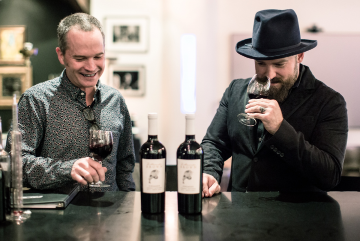 Winemaker John Killebrew (left) and Zac Brown (right) worked closely to create Z. Alexander Brown wines.