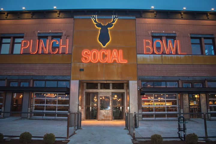 Punch Bowl Social targets urban markets like the Chicago suburb of Schaumburg, Illinois (pictured). Three new units will open this year in Minneapolis, Indianapolis and Stapleton, Colorado.