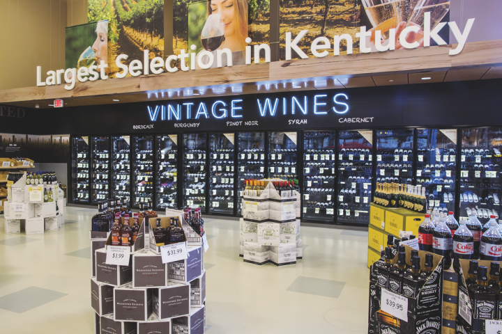 The largest stores in Kentucky's Liquor Barn chain (Shelbyville Road location in Louisville pictured) offer 6,000 wine SKUs .