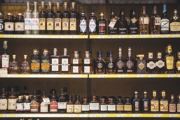 Spirits do well across the company's stores. At Liquor Barn (above), Bourbon and other brown spirits are thriving.
