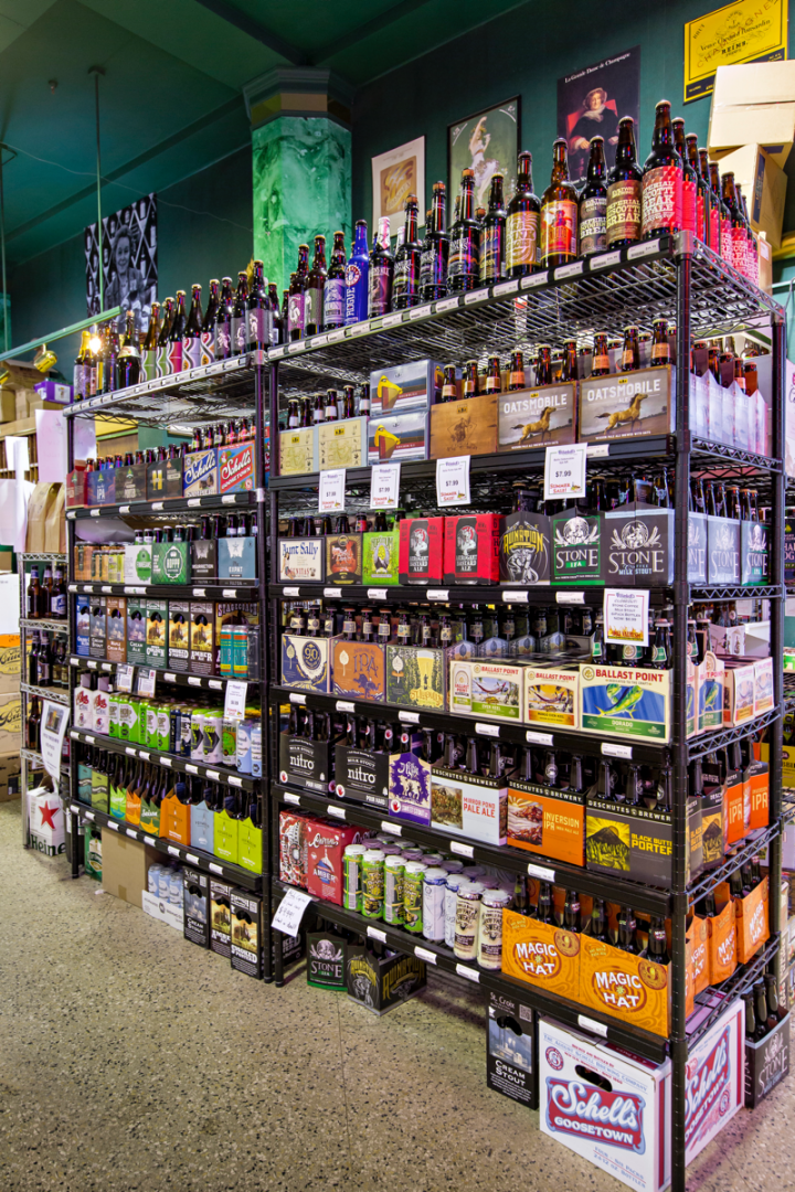 Spanning 4,500 SKUs, beer (pictured) makes up 14 percent of sales.