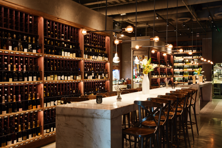 The on-premise element is a key focus for Wally's. Every wine available at the bar can be purchased at retail to take home.