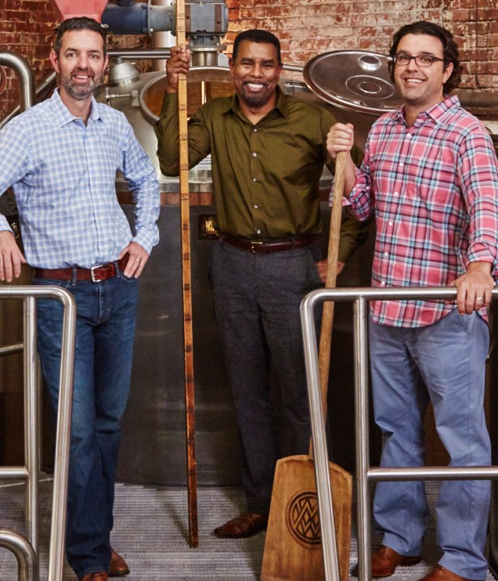 The current Brooklyn Brewery team is led by CEO Eric Ottaway (left), longtime brewmaster Garrett Oliver (center) and president Robin Ottaway (right). Brewery cofounder and chairman Steve Hindy also remains involved in the business.
