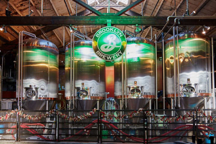 Brooklyn Brewery (vats pictured) produces 300,000 barrels a year. The company's location in Brooklyn, New York's trendy Williamsburg neighborhood has fostered a worldwide reputation for the brand.