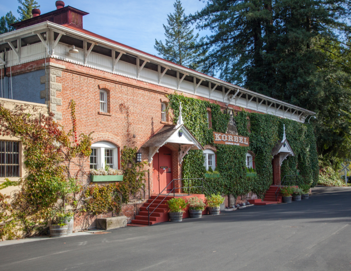 Korbel (distillery exterior pictured) nearly doubled its share of the domestic brandy market between 1990 and 2015.
