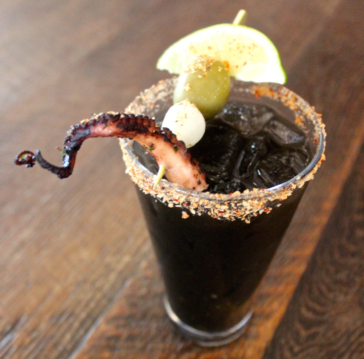 Squid ink can create a wow factor in cocktails. At Del Campo in Washington, D.C., the Pantera (pictured) includes Pisco, tomato juice, Bloody Mary mix and squid ink, among other ingredients.