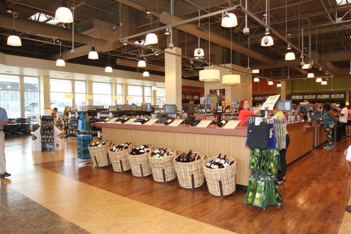 PLCB stores now include a centrally located tasting bar and customer service area (pictured above), with counters for highlighting promotional items and educational materials, such as food pairing ideas and party planning tips.