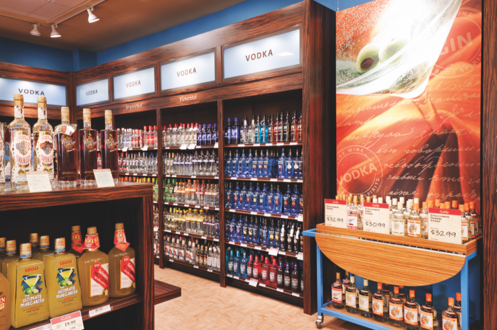The PLCB began rebranding its retail locations (above) in 2010. Units now include wall colors that distinguish spirits from wine, new signage, tasting bars, vintage guides, calorie charts and more.