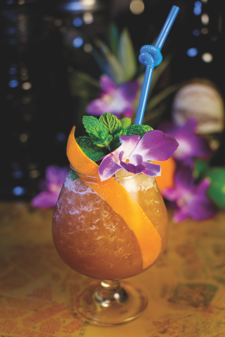 Specialty rum-based cocktails (Coronado Luau Special from False Idol in San Diego pictured) are gaining popularity as the tiki movement spreads.