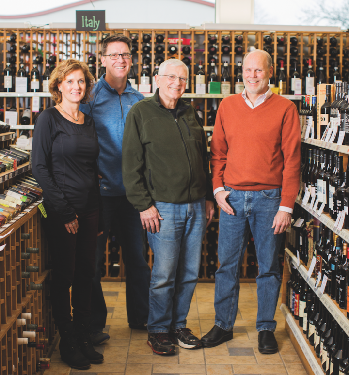Steve's Wine, Beer and Spirits in Madison, Wisconsin, is led by partners (from left) Karen Eigenberger, Wayne Crokus, Joe Varese and Randy Wautlet.