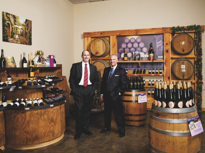 Frank Mariano (left) and Joe Costello (right) oversee sales, marketing and franchising for Wine & Spirits Retail Marketing.