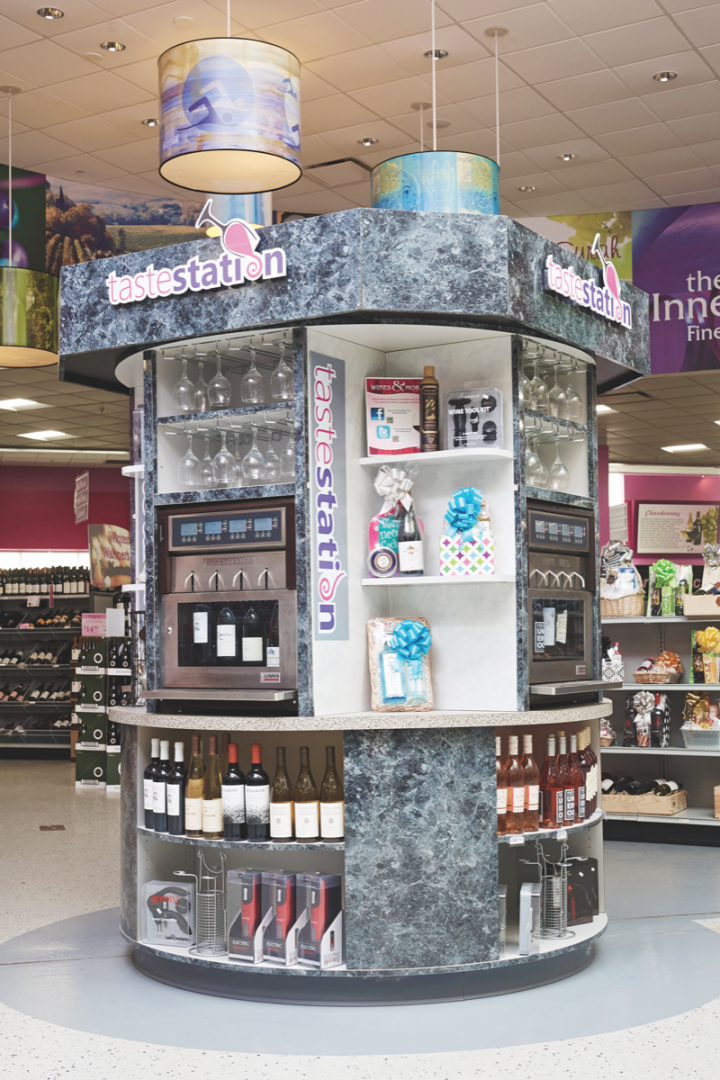 In-store tasting stations (above) and complimentary classes help customers learn more about wine, as do larger events. Sales in the category are up, with rosés and sparkling wines performing particularly well.