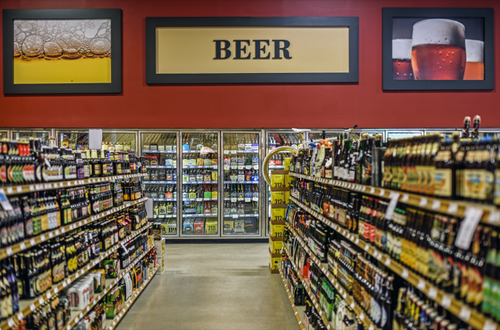 At Binny's Beverage Depot in Chicago (pictured), the cold box flow is arranged largely by price, with flavored malts, imports and craft beers following premiums and budget beers.