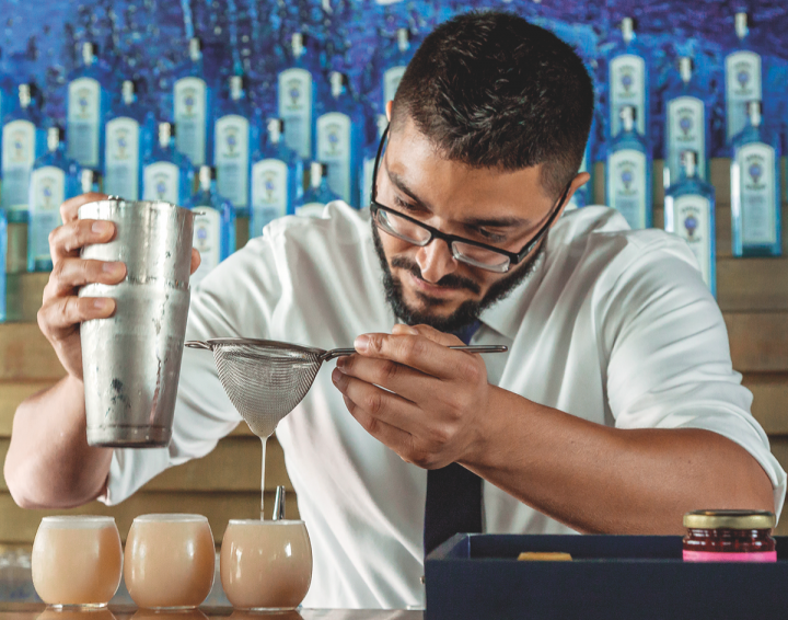 Schuyler Hunton (pictured) won Bombay Sapphire's Most Imaginative Bartender competition in 2016 with his Breakfast in Bombay cocktail, which featured Bombay Sapphire, grapefruit and Earl Grey oleo-saccharum, lemon juice and egg whites.