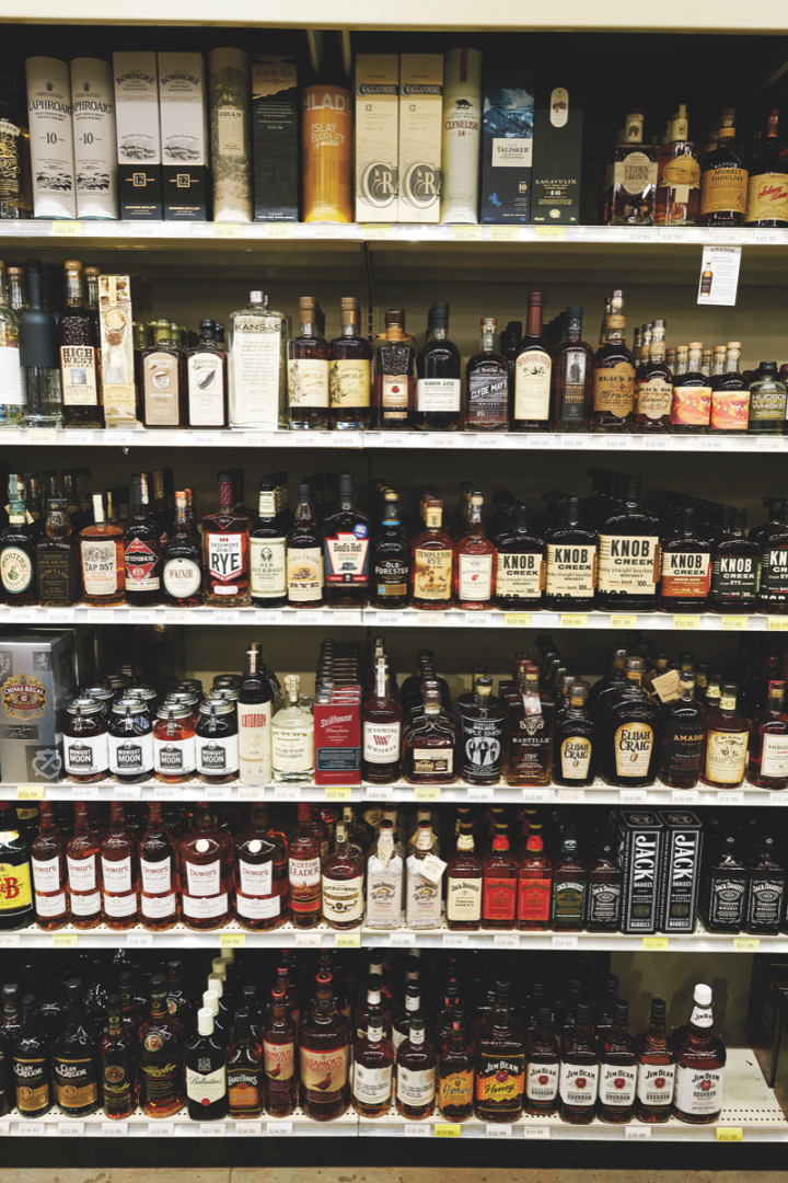 Sparrow stocks 800 to 900 spirits SKUs, filling a variety of price points. With Bourbon sales rising, the store carries up to 150 American whiskies (offerings pictured) at a time to accommodate demand. Vodka is the company's most popular spirit.