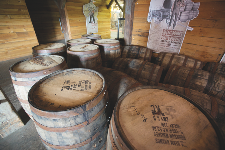 Beam Suntory's small-batch labels like Knob Creek are also receiving sizable increases in funding (Knob Creek barrels above).