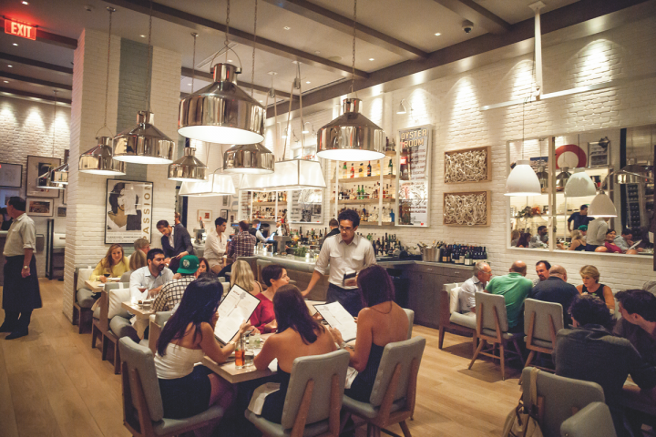 KNR Hospitality's The Dutch (interior pictured) has an extensive seafood program, offering caviar, a wide variety of oysters and chilled platters that include oysters, clams, shrimp, ceviche and tartare.