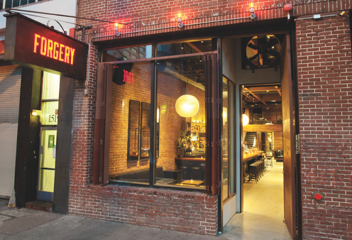 PlumpJack's drinks-focused San Francisco venue Forgery (exterior pictured) offers an extensive menu of signature drinks and a vast Scotch selection.