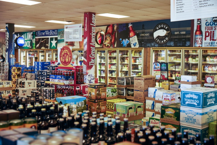 Cork Liquors stocks roughly 1,500 beer SKUs, with major domestic brands accounting for the bulk of beer sales (beer cases at Cork's flagship Columbus store pictured). Craft offerings, especially IPAs and local Indiana brews, have been rapidly gaining traction at the chain.