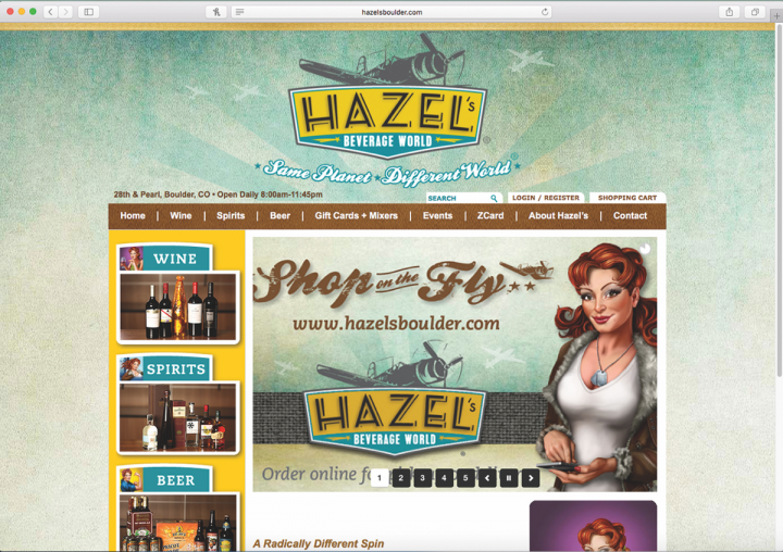 Hazel's online homepage now features the Hazel character with her phone in hand, a direct reference to the company's new e-commerce focus (website homepage pictured).