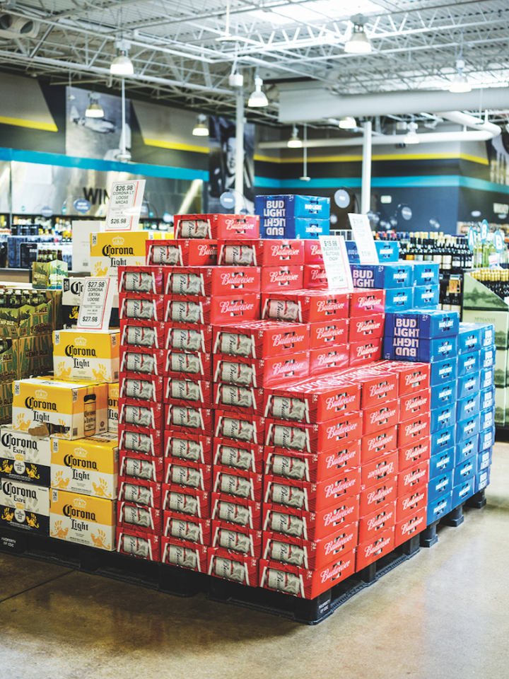 Nearly all of Hazel's inventory, including 7,000 wine SKUs and 2,000 beer SKUs (domestic brands pictured), is available for delivery in Colorado.