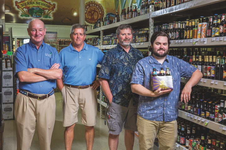(From left): Starr and Liquor World employees Jay Gilespy, Steve Hotchkiss and Caleb Baldwin have cultivated a loyal customer base by actively participating in the community and providing excellent customer service.
