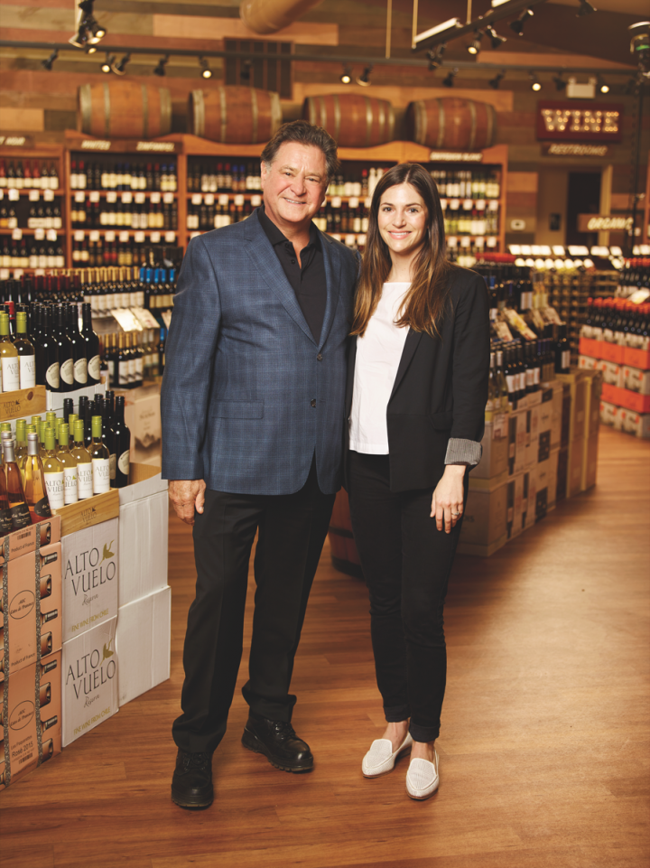 At Stew Leonard's, beverage alcohol sales are a family affair for Stew Leonard Jr. (left) and his daughter, brand manager Blake (right).
