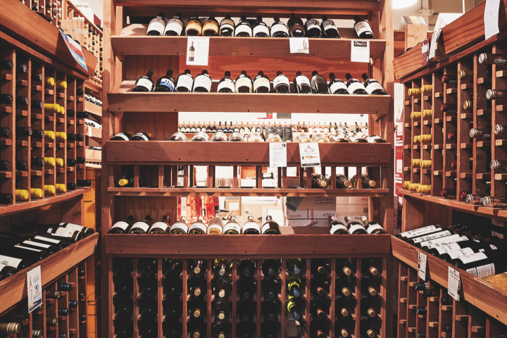 The Wine House stocks both small production wines and more standard labels (wine display pictured left).