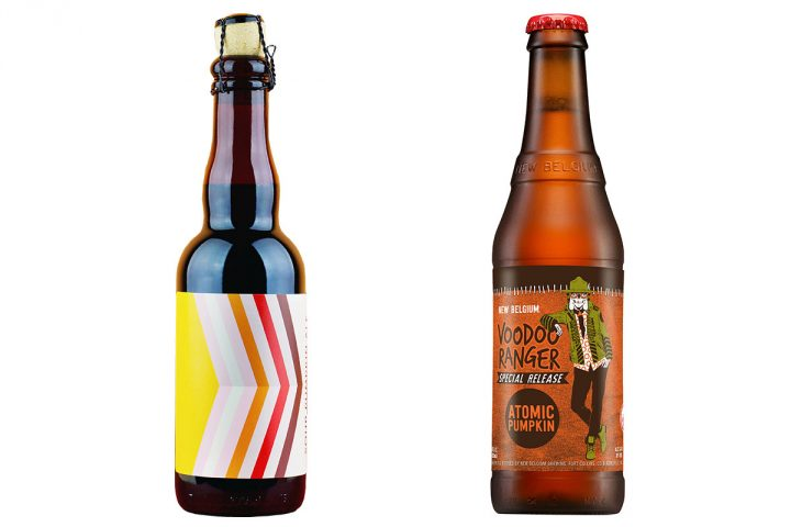 Hi-Wire's Sour Pumpkin Ale (left) and New Belgium's Atomic Pumpkin Ale (right) are twists on the popular fall seasonal.